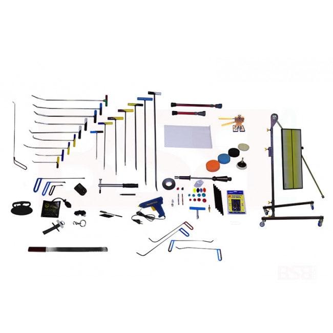 На фото набор инструментов для ремонта вмятин без покраски