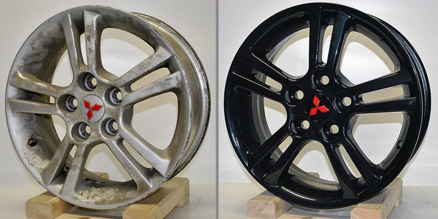 Фото до и после порошковой покраски дисков в «АвтосервисПрофи»