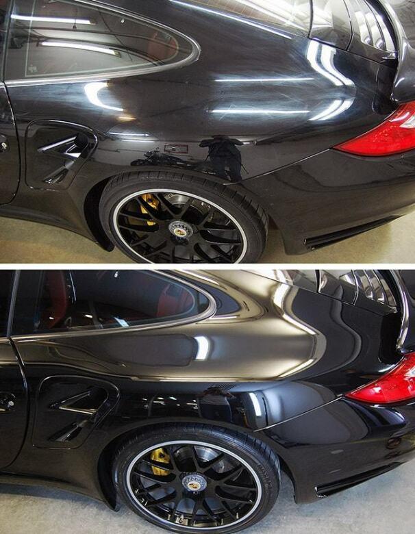 Фото пример до и после комплексной полировки кузова